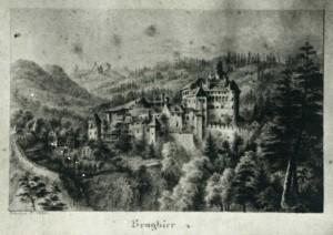 """Abb. 3: Das Castel nach einer Zeichnung von Johanna Isser Großrubatscher aus der Sammlung """"Tiroler Burgen"""" von 1832 (Quelle: """"Thuniana"""", Privatbesitz von Peter Thun)."""