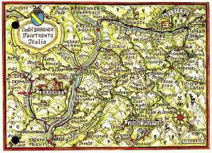 """Abb. 1: Castel Bragher in der Nähe von Taio. Castel Pietra und Welsperg sind weitere Liegenschaften im Besitz der Familie Thun (Quelle: """"Thuniana"""", Privatbesitz von Peter Thun)."""
